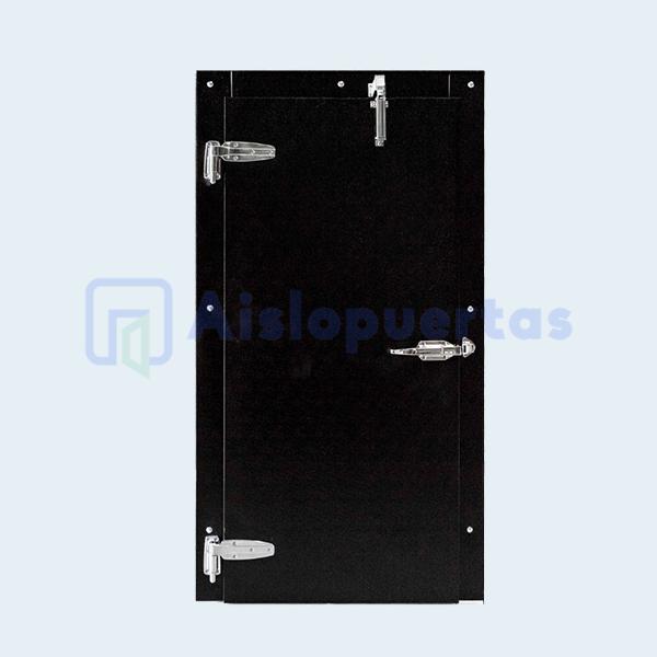 Puerta abatible para refrigeración en color negro con pistón de cierre